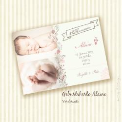 Geburtskarte - Alaine - Vorderseite