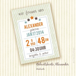 Geburtskarte - Alexander - Rückseite